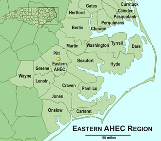 Eastern AHEC Area Map